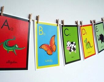 Animal Alphabet Nursery Art Cards, Alphabet Flash Cards, Alphabet Prints, Children's Nursery Art, Twenty Six Wall Cards, Kids Wall Art, ABC