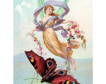 Butterfly Fairy Card | Faerie Greeting Card | Victorian Trade Card Repro