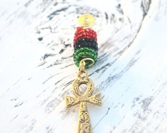 Ankh Dreadlock Cuff with Red, Green and Black Beads, Loc Jewelry, Dread Bead