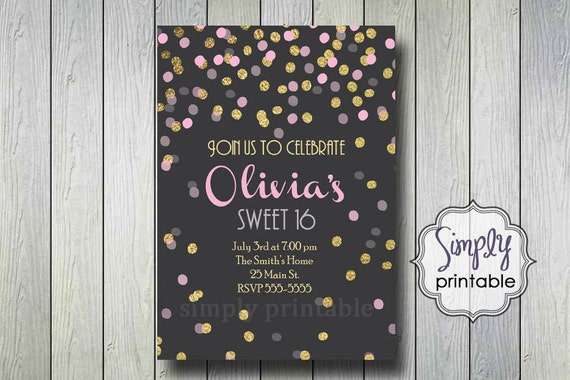 Sweet 16 Invitation, Sweet Sixteen Invite, Gold Birthday, Bridal Shower, Gold Pink Invitation, Anniversary,