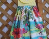Pink Flamingo Kitchen Tea Towel Beach Theme Hanging Kitchen Dish Towel with Pink Flamingos SnowNoseCrafts