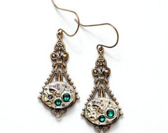 MAY Steampunk Earrings FANCY EMERALD Steampunk Wedding Jewelry Brass Dangle Earrings Steam Punk SteamPunk Jewelry by VictorianCuriosities