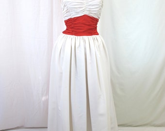 1930s Red and White Evening Gown