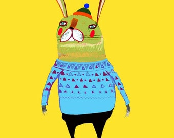 Kids art, decor for nursery, childrens wall prints, rabbit poster.'Rabbit Skater'.
