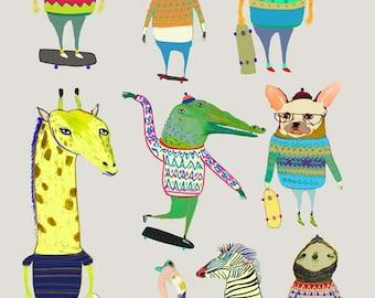 Skateboard art print, childrens poster, kids prints, nursery art gift ideas. 'Skateboarding Animals'.