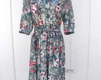 Vintage 1970's California Looks Dress Floral Forest Belted Dress