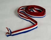 Vintage Ribbon 4 yards - Red White Blue Striped Braided  -B4