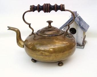 Vintage Brass Tea Pot, Hot Toddy Kettle, Gooseneck Teapot, Rustic Farmhouse - As Is