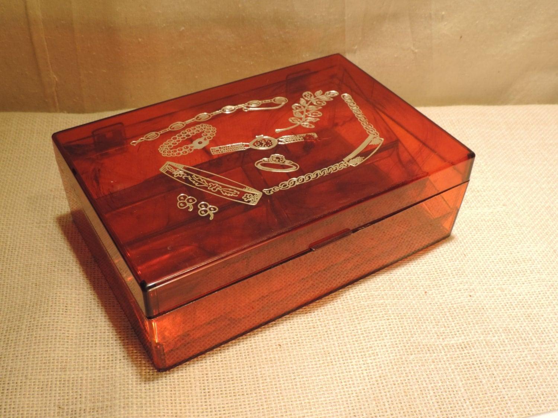 Vintage Jewelry Box Plastic Jewelry Box Tortoiseshell Box