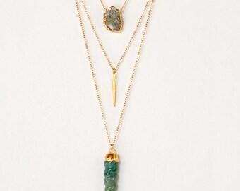 Layered Necklace Set - Set of 4 - Stone Horn Necklace - Green Layering Necklaces - Gold Necklace - Layering Set - Boho Chic - Statement