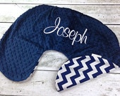 Nursing Pillow Cover- Navy Chevron Print and Navy Minky