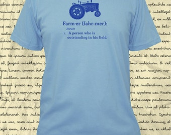 Farming Shirt - Mens Farm Shirt - Tractor - Definition of a Farmer - Tshirt - 4 Colors - Small, Medium, L, XL, 2XL - Gift Friendly