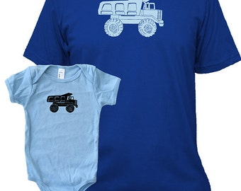 Matching Father Baby Shirts, Dump Truck T shirts, Father's Day gift, new dad shirt, father daughter, gift for dad from baby, set, Twinning