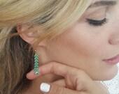 Turquoise and Gold Chevron earrings - Dangle Earrings - Long Earring - Bridesmaid Gift - Statement earrings - V earrings - everyday jewelry