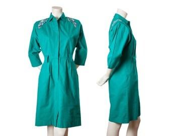 Vintage teal cowgirl dress with floral leaf design -- 80s shoulder pad dress -- vintage southwestern dress -- size medium