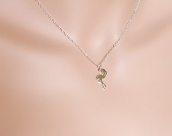 Flamingo Necklace, Flamingo Jewelry, Flamingo Pendant, Tropical Necklace, Bird Necklace, Sterling Silver, Tropical Birds, Gift For Her