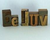 Vintage Wooden Letterpress BE LUV Letter Type Home Decorative Positive Peace Spiritual Love