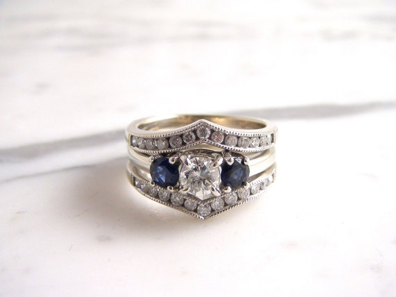 Vintage Diamond And Sapphire Engagement Ring 14k White Gold
