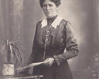 Serious Paperwork- 1900s Antique Photograph- Grim Faced Edwardian Woman- Beautiful Dress- Real Photo Postcard- RPPC- Paper Ephemera