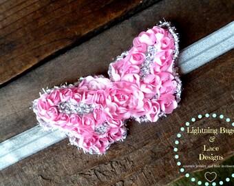 Pink Shimmer Rosette Butterfly Girls Headband