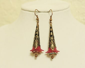Pink and Copper Trumpet Flower Earrings