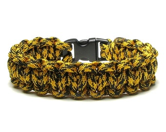 Paracord Bracelet Cheetah Honey Badger Black Gold Survival Accessory Climbing Hiking Cord Jewelry Bumble Bee Nature Lover Gifts For Teacher