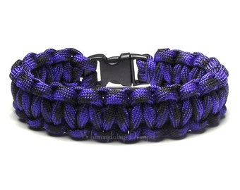 Paracord Bracelet Blackberry Purple Black Survival Accessory Military Outdoor Camp Adventure Halloween Fun Gift For Teen Hiker Biker Zombie
