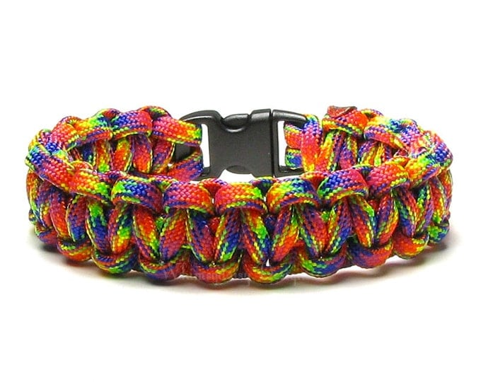 Paracord Bracelet RockStar Hot Pink Orange Yellow Green Blue Survival Accessory Hiking Bright Color Gift For Hikers Teen Friendship Bracelet