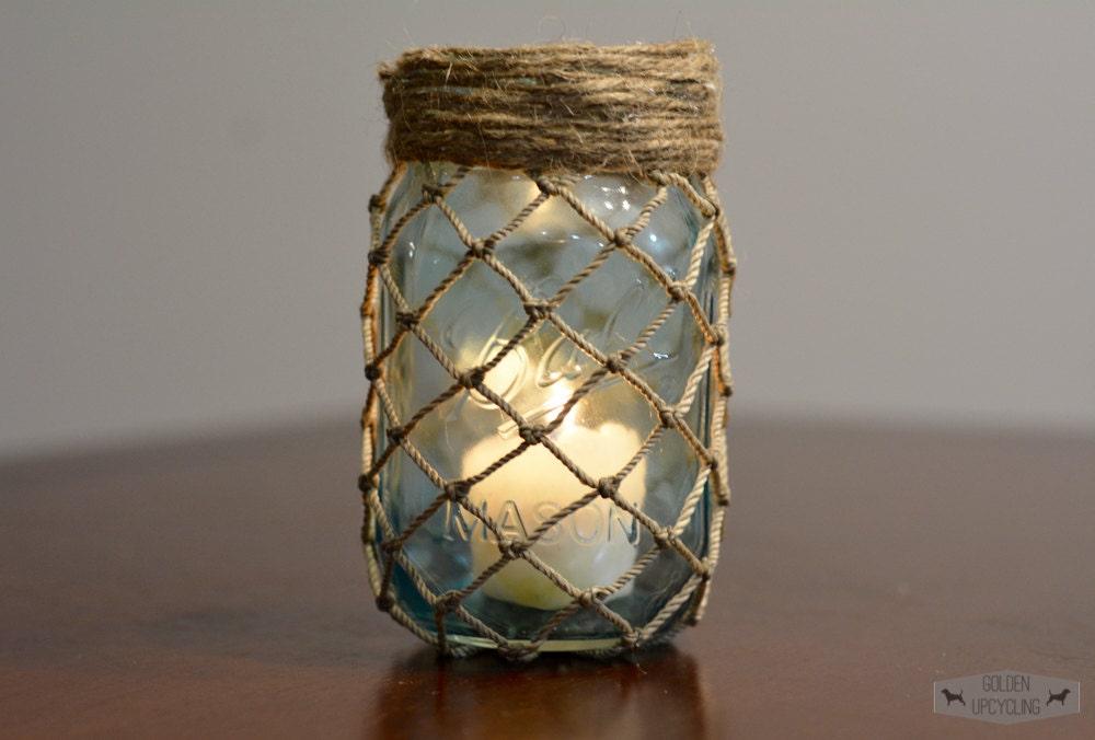 Nautical Mason Jar Decor Fish Net Twine Mason By Goldenupcycling