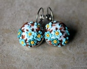 Gorgeous Polymer Clay Statement Earrings in Mint, Brown and White