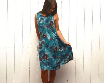 Hawaiian Print Dress Early 90s Vintage Blue Floral Beach Dress Large XL