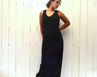Long Black Skirt 80s Vintage Floor Length Back Slit Fitted Skirt