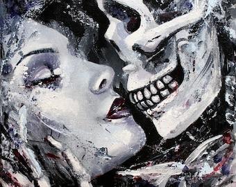 "8 x 8, Fine Art Print, ""Death and the Maiden"", painting by Kamille Freske, dark art, gothic art, dark surreal, creepy art, macabre art"