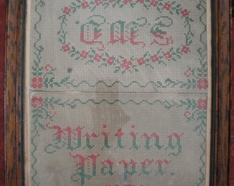 1879 Antique Victorian Cross Stitch on Paper Advertising Sign 'Gaes Printing Paper 1879'