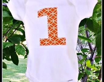 First Birthday Appliqued Onesie - Orange geometric