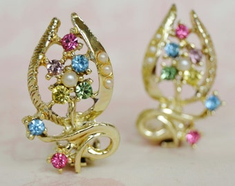 Vintage Clip-On Earrings of Wishbones with Rhinestones and Faux Pearls