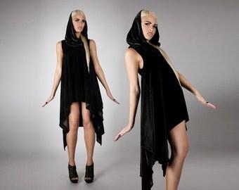 Hooded Asymmetrical Velvet Dress in Black, Avant Garde Clothing, Scandinavian Minimalist Design, Oversize Collar, by LENA QUIST