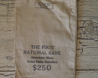 Bank Bag - Rustic Cotton Canvas Bank Bag - Great for Storage, Gift Wrapping, Vintage Decor, or Upcycle