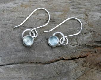 5mm Petite Pale Blue Aquamarine and Sterling Silver Bezel Set Dangle Earrings. Handmade sterling ear hooks. March birthstone earrings