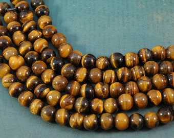 Tiger Eye Gemstones - LARGE HOLE beads -12mm Round Bead - 8 inch strand - 2.5mm Hole