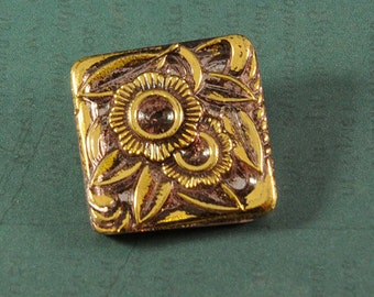 Czech Glass Button - 22mm - Orchid/Gold - Sold By The Piece