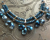 Something Blue wedding dress necklace in deepest rich chrystal ocean blue stones