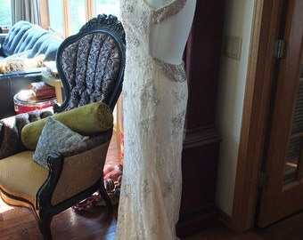 Backless Beaded lace wedding dress informal alternative vintage styled 1920s 1930s wedding dress