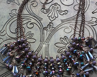 Purple teardrop wedding necklace bridesmaids gift jewelry