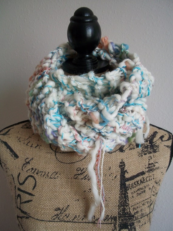 whimsical knitted thick and thin art yarn infinity scarf