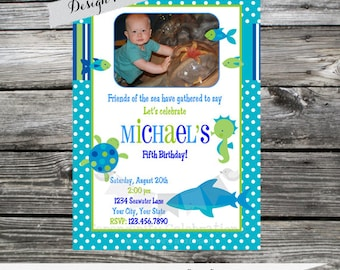 12 Printed Invitations By Serendipity Celebrations -Blue Sea -Birthday -Baby Shower -Printing Service