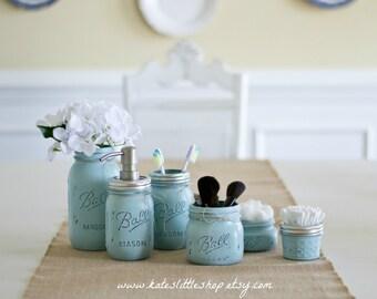 Deluxe Mason Jar Bathroom Kit. SHABBY BLUE. Farmhouse Decor. Rustic Home Decor. Mason Jars. Mason Jar Soap Dispenser. Wedding Gift.