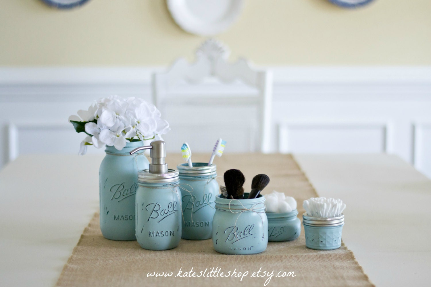 Deluxe mason jar bathroom kit shabby blue farmhouse decor for Small bathroom jars
