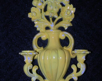 2 WALL Decor Sconces- YELLOW and WHITE Candelabra Wall  Vintage Shabby Chic