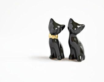 Halloween black cat cake topper, wedding cake topper, gold black - Halloween wedding, ceramic cat cake topper wedding, wedding keepsake